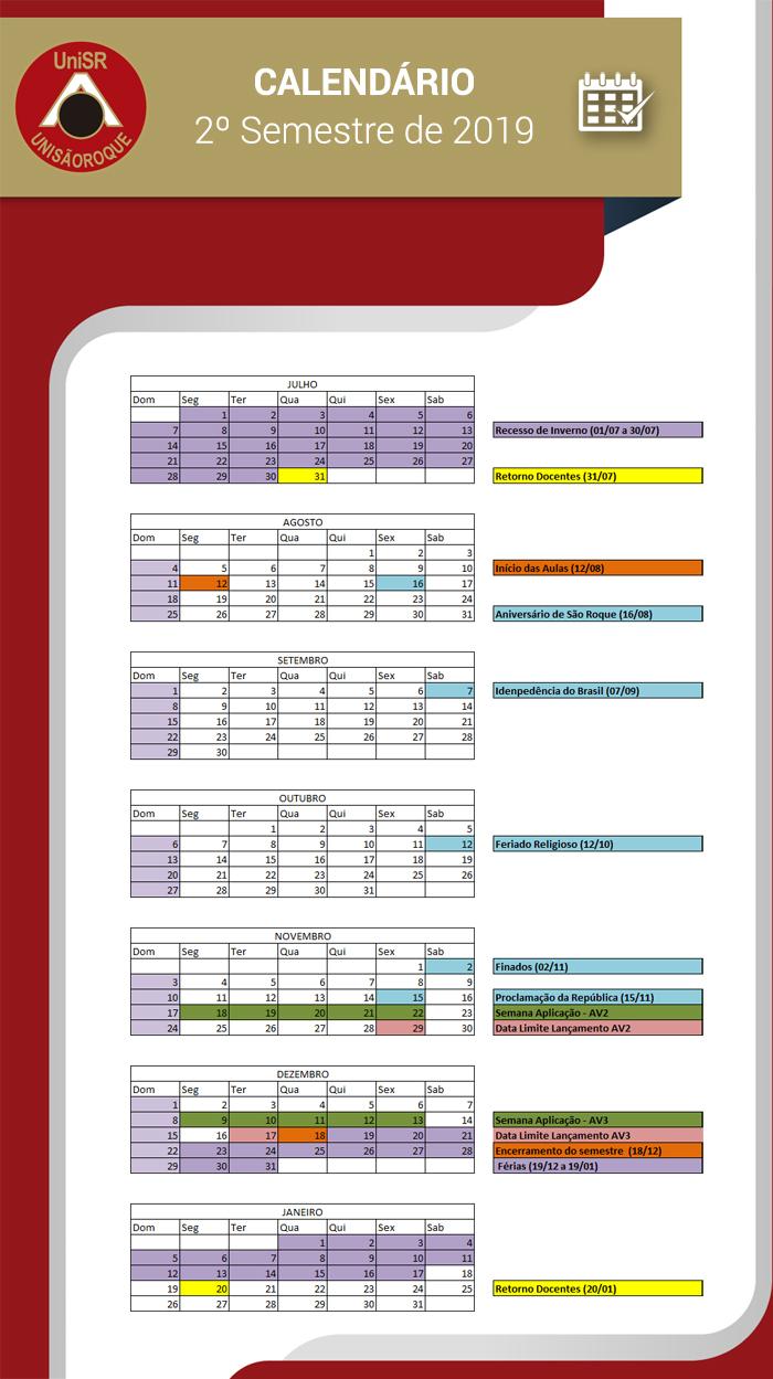 Calendário UNISR 2º Semestre de 2019